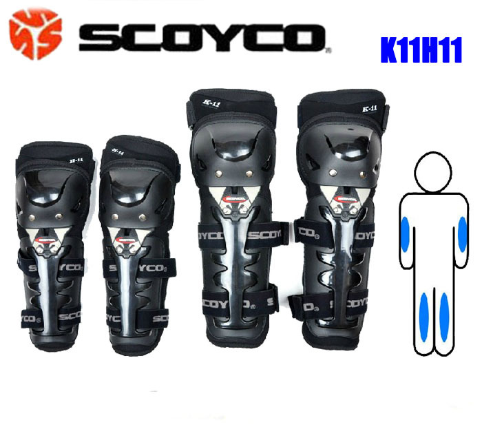 4 pçs/set Combinação Moto Knee & Eblow Protector Guardas Equipamentos de Proteção Engrenagens de Corrida Scoyco K11H11