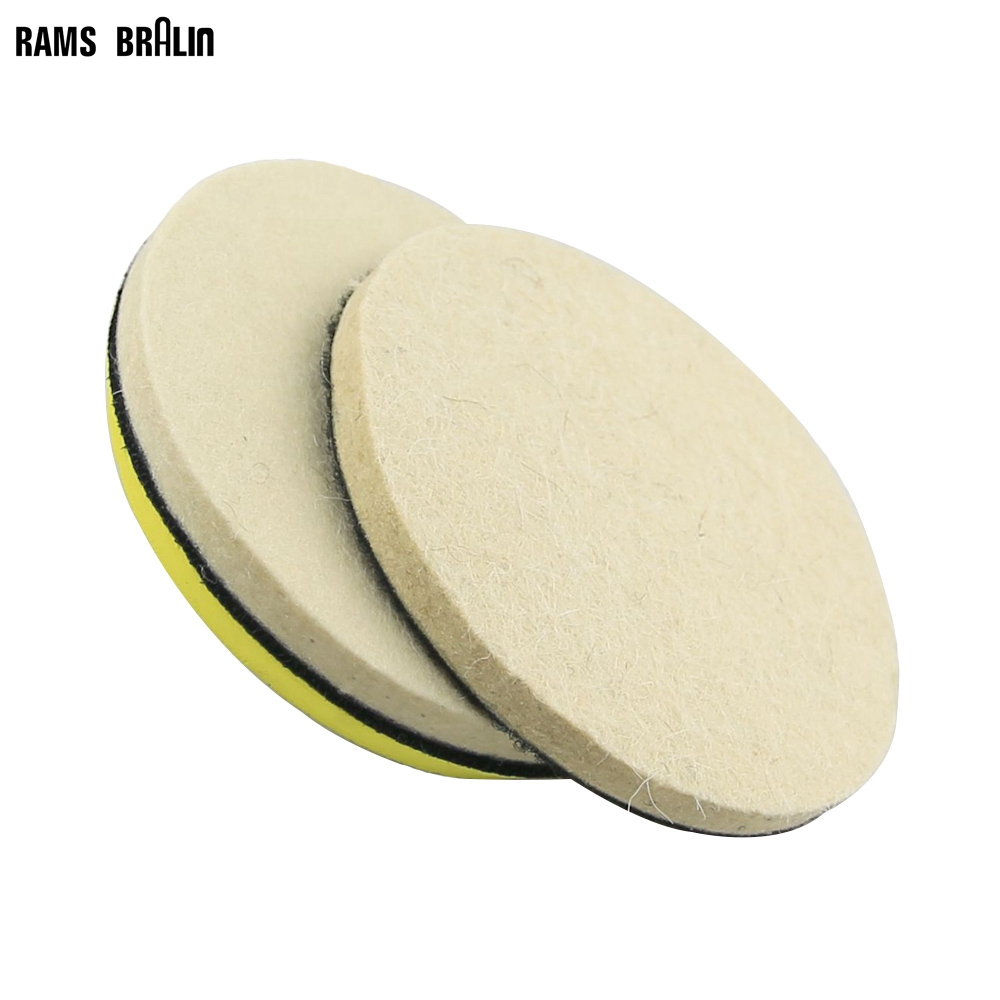 6 Pieces 5 In. / 125mm Coarse & Fine Wool Felt Sanding Disc +1 Piece M14 Holder Nozzle For Bulgarian Wood Car Metal Polish