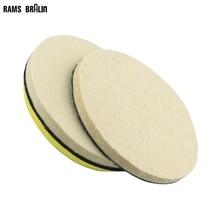 6 pieces 5 in. / 125mm Coarse & Fine Wool Felt Sanding Disc +1 piece M14 Holder Nozzle for Bulgarian Wood Car Metal Polish