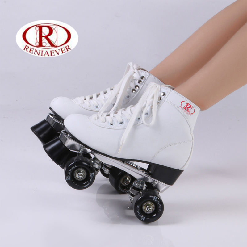 RENIAEVER double roller skates, skating shoe, Gift girls black wheels roller shoe, figure skates,white free shipping ...