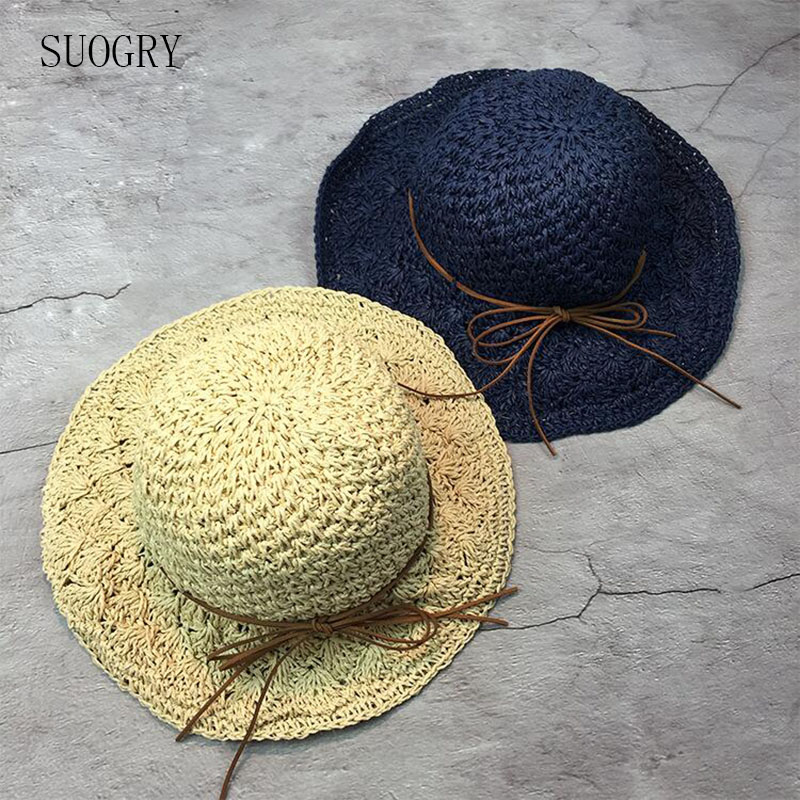 2017 New Raffia Handmade Crochet Soft Fold Straw Sun Summer Hats For Women Girls Chapeau Femme Beach Hat Mother's Day Gift