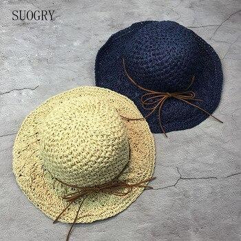 2017 nueva rafia hecho a mano Crochet suave de paja sol verano sombreros  para mujeres niñas Chapeau mujer sombrero de playa regalo del Día de la  madre d5bfffd2c6e9