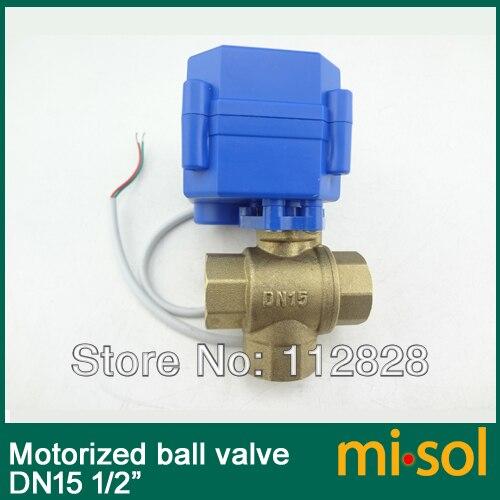 10 pcs/lot 3 way motorized ball valve DN15 (reduce port), electric valve( T Port),