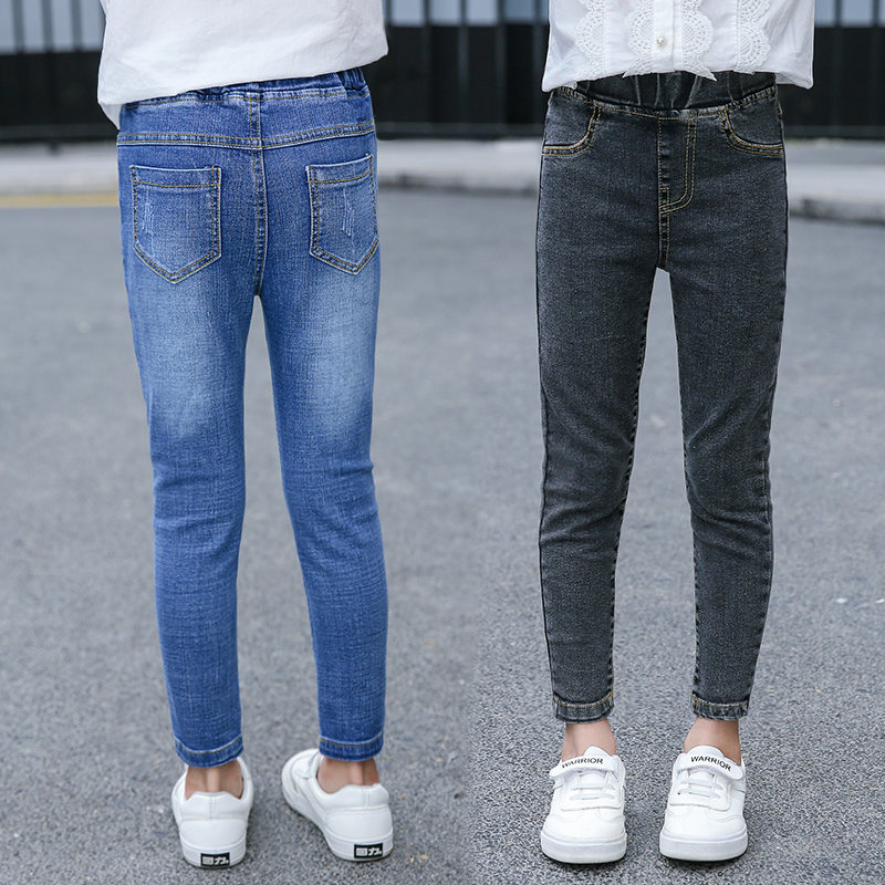 Girls Skinny Jeans Black Denim Trousers Casual Ripped Pants Kids Teens 4-13