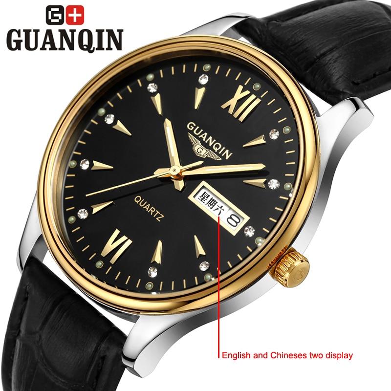 ФОТО Brand GUANQIN men's business watch dress relogio masculino crystal quartz watch watches men calendar week quartz-watch sapphire