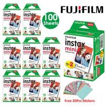 Белая пленка Fujifilm Instax Mini 10 20 40 60 80 100 листов для FUJI Instant Photo camera Mini 9 Mini 8 7s 70 90+ Бесплатные наклейки