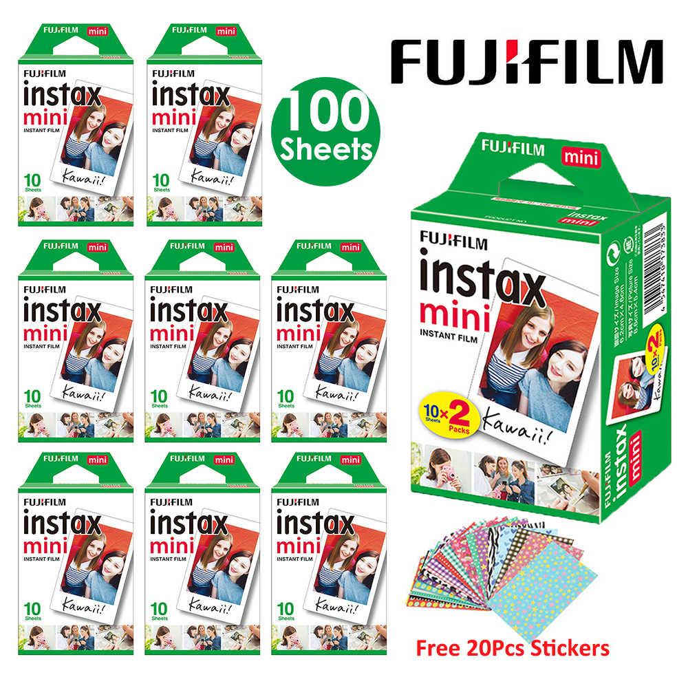 Fujifilm Instax فيلم صغير أبيض 10 20 40 60 80 100 ورقة ل فوجي كاميرا فوتوغرافية الفورية Mini 9 Mini 8 7s 70 90 + ملصقات مجانية