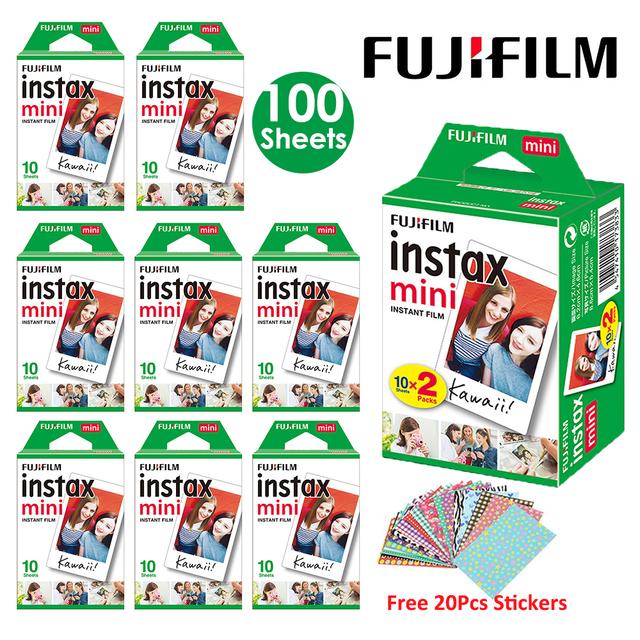 Fujifilm Instax Mini Film White 10 20 40 60 80 100 Sheets For FUJI Instant Photo Camera Mini 9 Mini 8 7s 70 90 + Free Stickers
