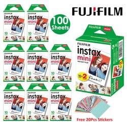 Fujifilm Instax Mini Film blanc 10 20 40 60 80 100 feuilles pour appareil Photo instantané FUJI Mini 9 Mini 8 7s 70 90 + autocollants gratuits