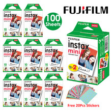 Fujifilm Instax Mini Film White 10 20 40 60 80 100 Sheets For FUJI Instant Photo Camera Mini 9 Mini 8 7s 70 90 + Free Stickers(Hong Kong,China)