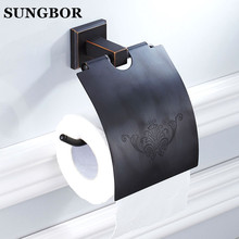 New Brass Oil Rubbed Bronze Toilet Paper Holder Black Wall Mounted Paper Holder Toilet Tissue Holder Bathroom Accessory GJ-60908 modern wall mounted bathroom oil rubbed bronze with ceramic toilet paper holder waterproof