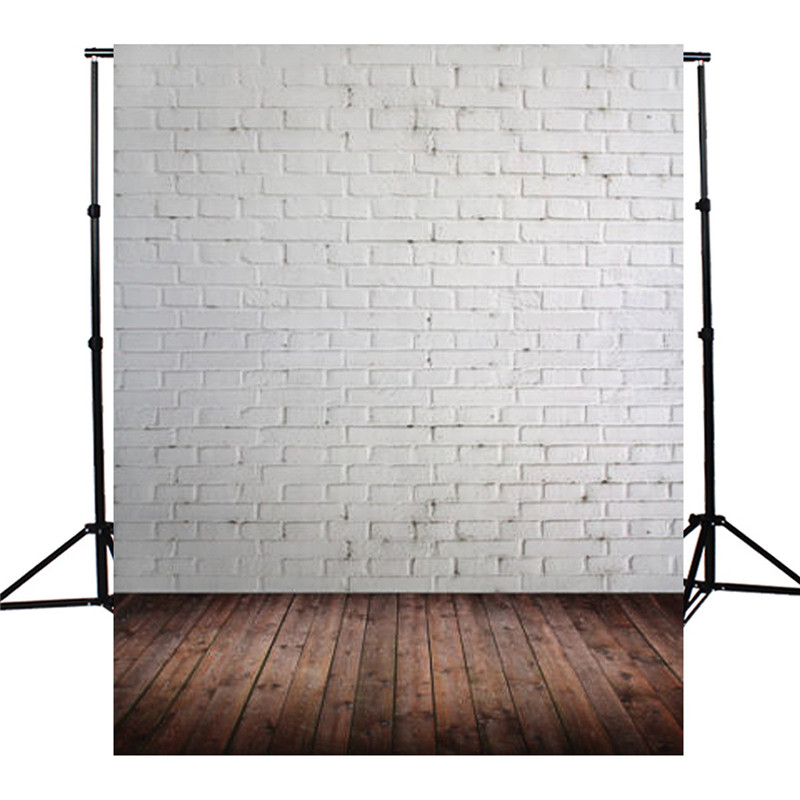 5x7FT Vinyl Brown Wooden White Brick Wall Photography Background For Studio Photo Props Photographic Backdrops cloth 1.5x2.1m машинка для стрижки волос remington pg6070