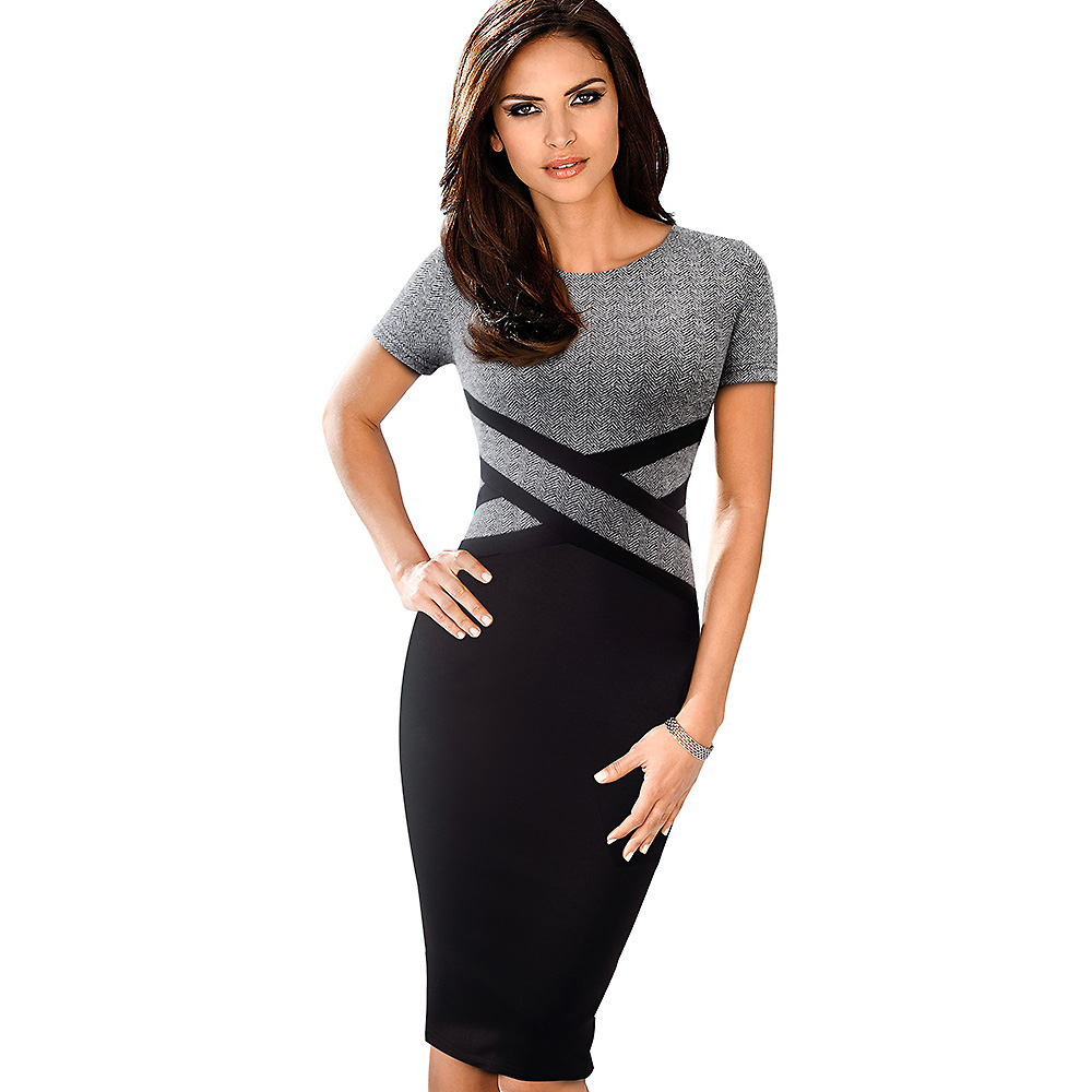 Nice-forever Vintage Elegant Contrast Color Patchwork Wear to Work vestidos Business Party Office Women Bodycon Dress B463 Women Women's Clothings Women's Dresses