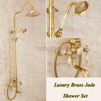 Hot Luxury Brass Jade Rainfall Shower Set Bathroom Shower Faucet 8 Top Spray Adjust Height Handheld