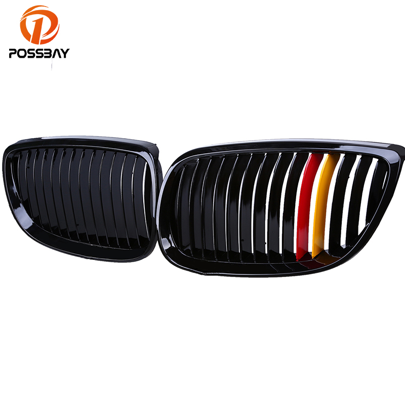 POSSBAY Germany Flag Style Gloss Black Front Bumper Grill Grille for BMW 3-Series E92 325xi/328i/335i Coupe 2006-2010 Pre-facel