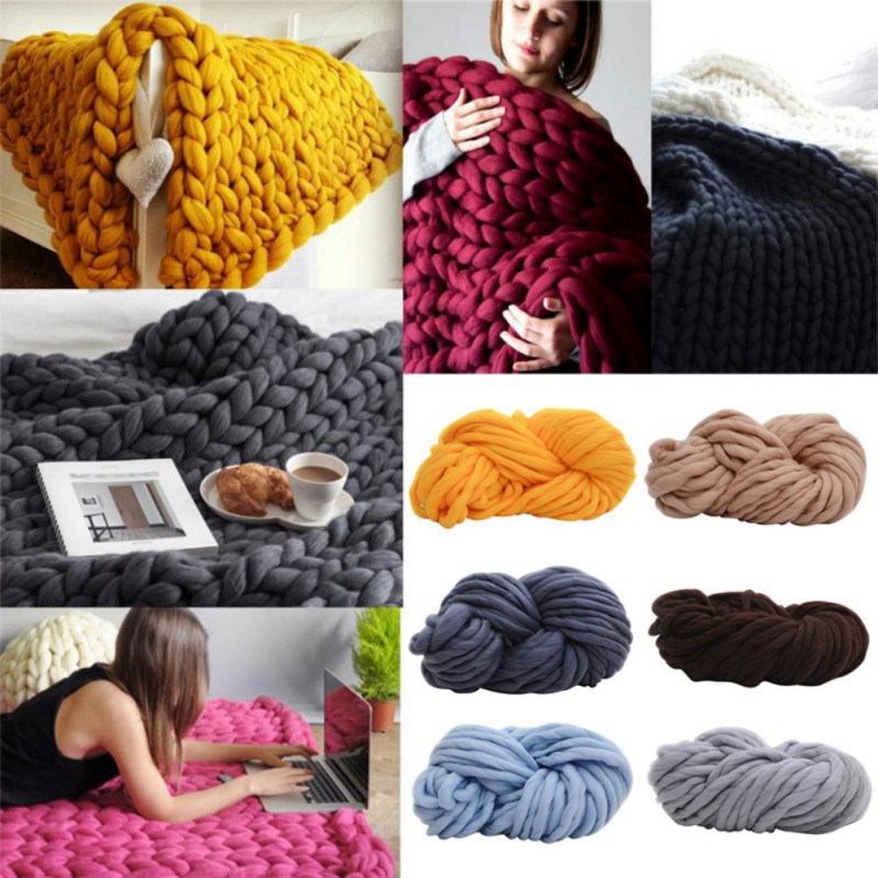 DIY grande estupenda suave hilo de lana gruesa voluminosos brazo ...