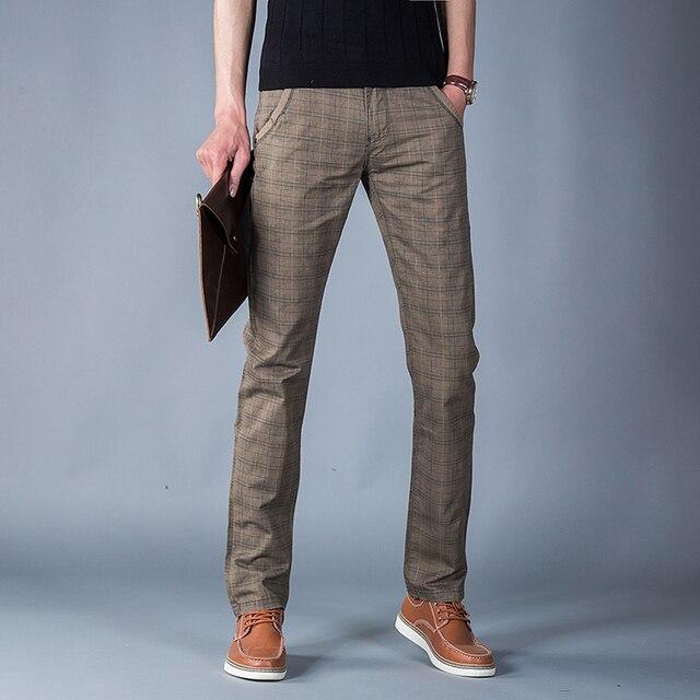 2016 Новое Прибытие Мода Новый Полный Хлопок плед брюки мужские цвет кофе Тонкий Брюки размер Бесплатная Доставка 28-38