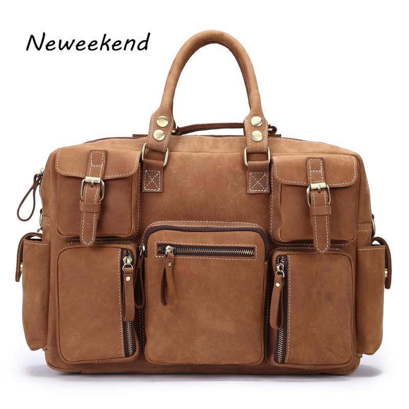 NEWEEKEND Man Bag Leather Briefcase Men Business Handbag Messenger Bags Male Vintage Men's Shoulder Bag Large Capacity 3061 цена