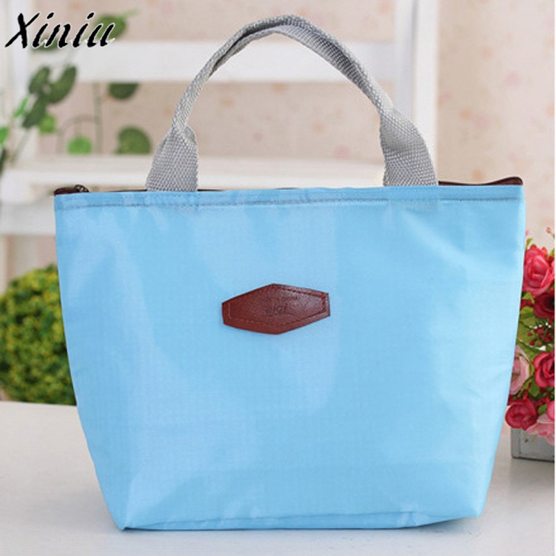 Food Storage Bag Waterproof Portable Picnic Insulated Lunch Bag Solid Color Oxford Bag Cooler Bolsa Termica *7622