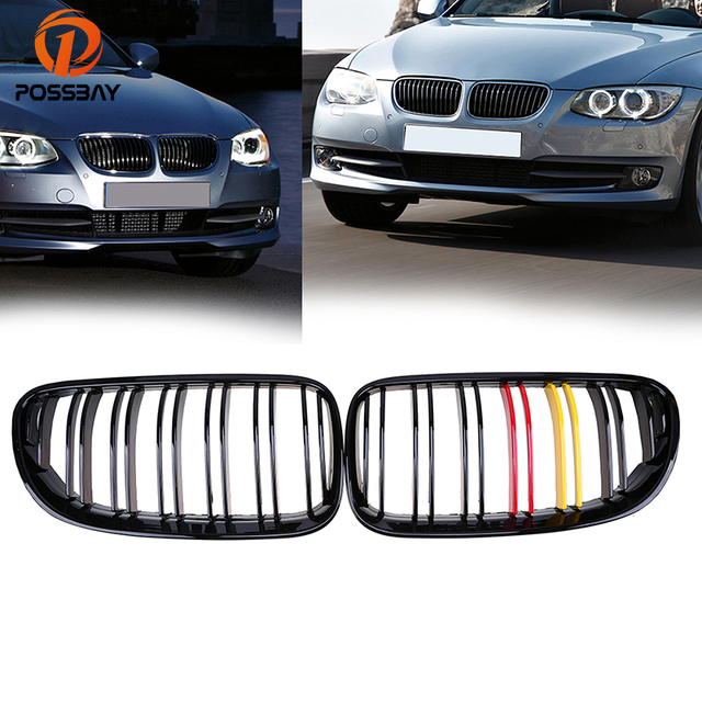 Us 58 0 24 Off Possbay Gloss Black Red Yellow Front Grill For Bmw 3 Series E93 318i 320d 320i Cabrio 2010 2013 Facelift Double Slats Grilles In