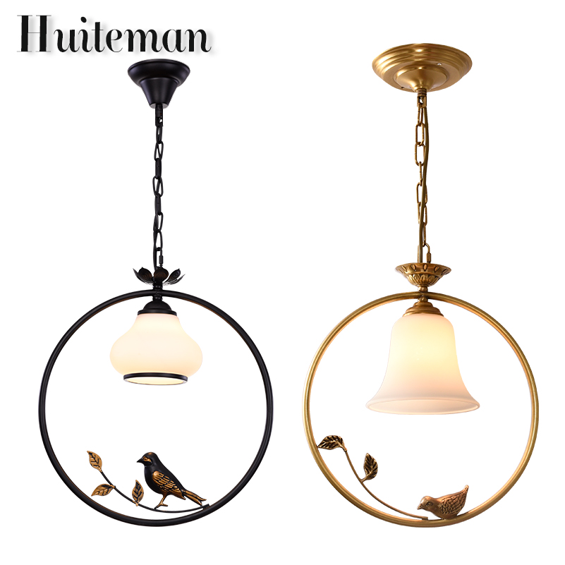 Huiteman Black Pendant Lights Indoor Balcony Loft Glass Home Hanging Lighting Modern Kitchen Parlor Gold Birds LED Pendant Lamps dimmable pendant lights led crystal lighting hanging lamps indoor home light with remote control for hallway indoor home deco