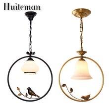 Huiteman Black Pendant Lights Indoor Balcony Loft Glass Home Hanging Lighting Modern Kitchen Parlor Gold Birds LED Pendant Lamps