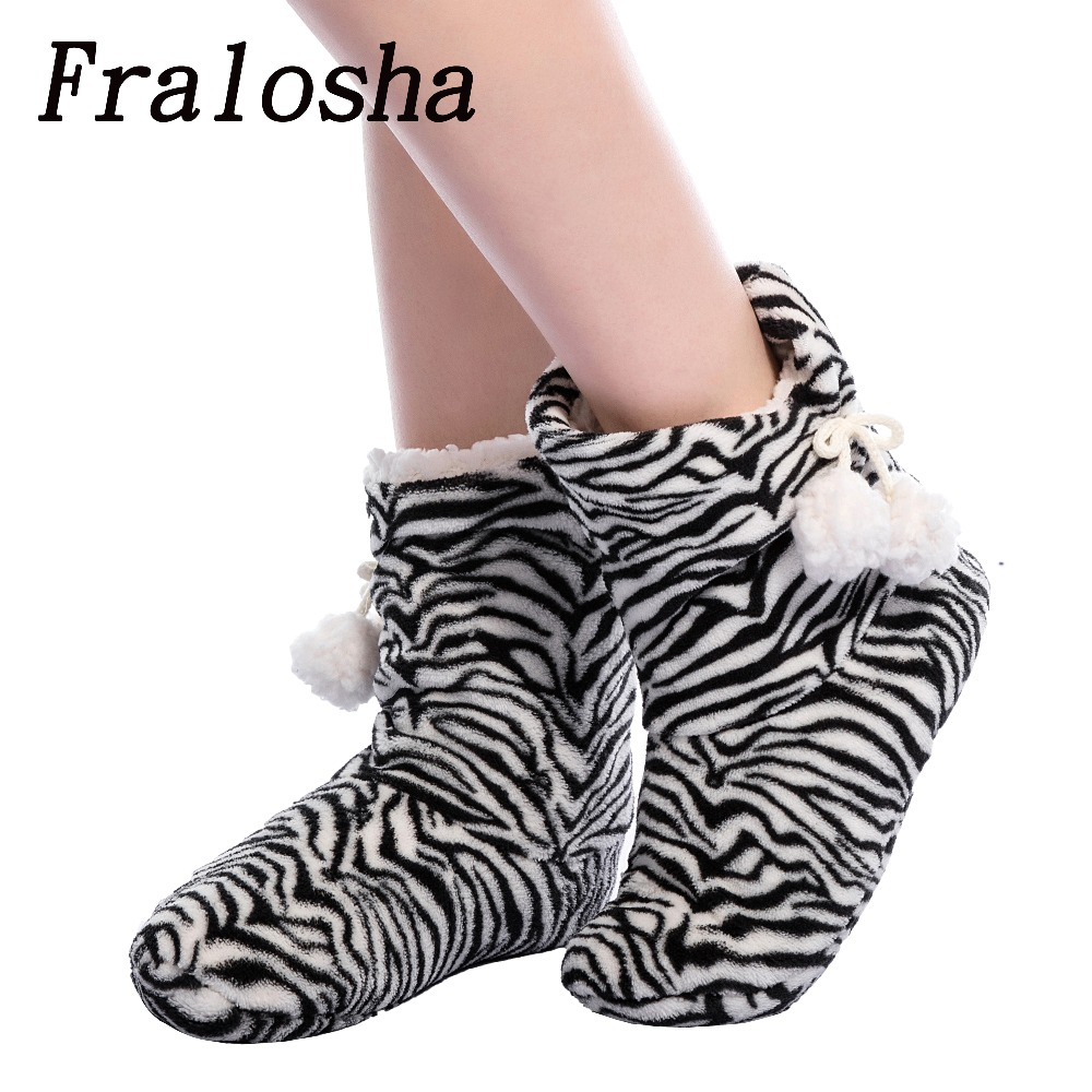 Fralosha New Winter Plush Slippers Women Home Slippers Fashion  plush warm indoor Slippers For Home Shoes Hot Sale soft plush big feet pattern winter slippers