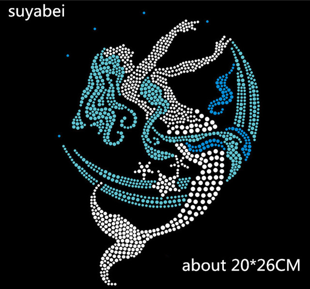 US $8 0 |2pc/lot Mermaid iron on crystal transfers design appliques hot fix  rhinestone motif designs patch for shirt pillow-in Rhinestones from Home &