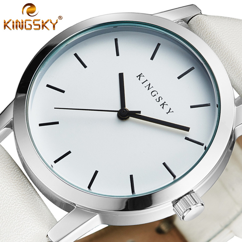 KINGSKY Women Watches Top Luxury Brand Rose Gold Silver Leather Steel Quartz Wrist Watch relogio feminino Clock montre femme цена и фото