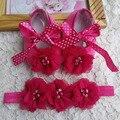 Batismo do bebê recém-nascido menina sapatos headband do set, bebê primeiro passo sapatos da menina, sapatas de bebê clássico, bonito bebê sapatos para as meninas