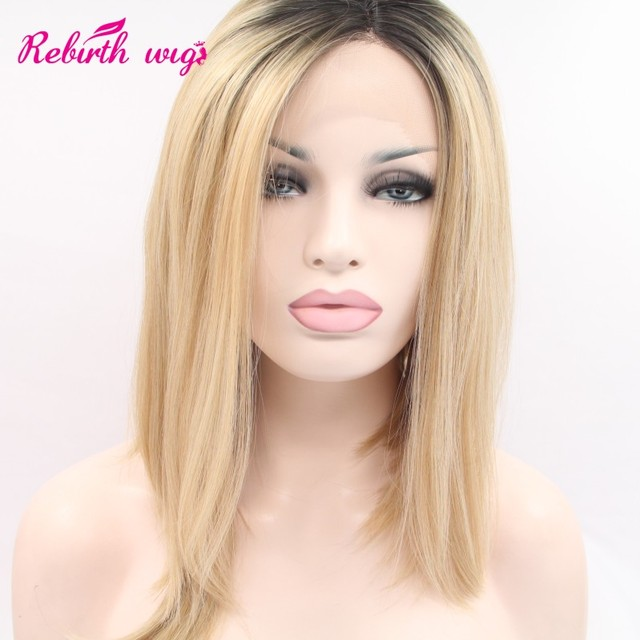 Ombre dark roots blonde wigs synthetic lace front wigs for women medium  length long BOBO hairstyle girls fashion wigs lace front c29553a364