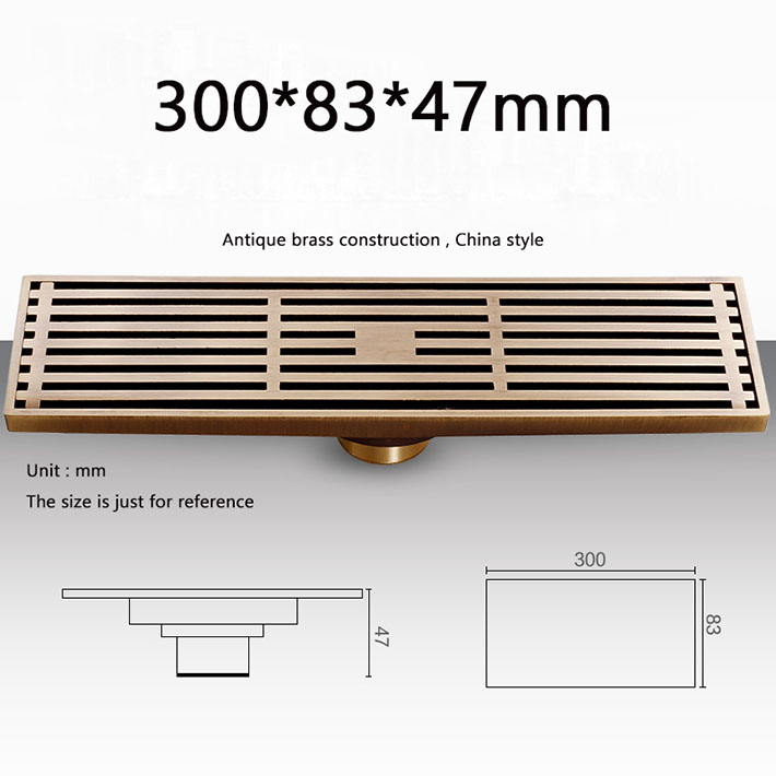ФОТО Long Antique Brass Linear anti-odor Floor Waste Channel Grate Drainer Shower Drainer