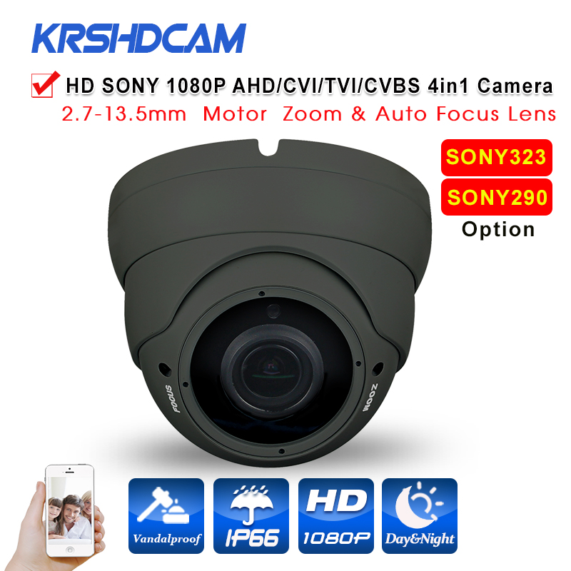 KRSHDCAM Full HD 1080P AHD-H Camera Motorized Zoom lens 2.7mm-13.5mm 2.0MP Waterproof IR Dome Camera AHD/CVI/TVI/ANALOG 4 IN 1