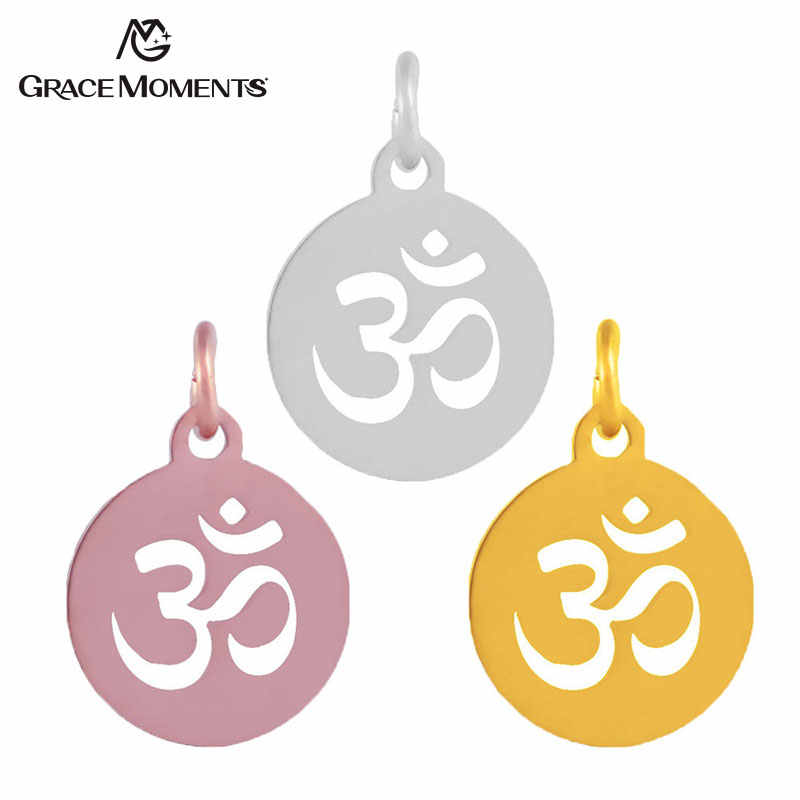 5pcs/lot Grace Moments Full Polish Stainless Steel Charm OM Yoga Charm Pendant with Split Ring Hot DIY Handmade Accessories