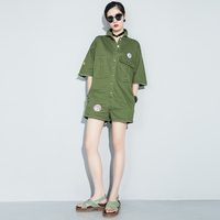 Women Army Green Shorts Rompers Boilersuit Utility One Piece Appliques Playsuits