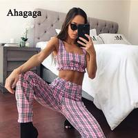 Ahagaga 2018 Spring Summer Tracksuits Sets Suits Women Plaid Fashion Sexy Costume 2 Pieces Tops Pants