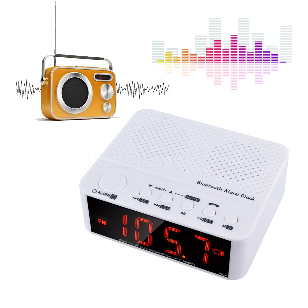 new wireless mini clock alarm bluetooth v2 1 speaker with led time display fm radio tf reader. Black Bedroom Furniture Sets. Home Design Ideas