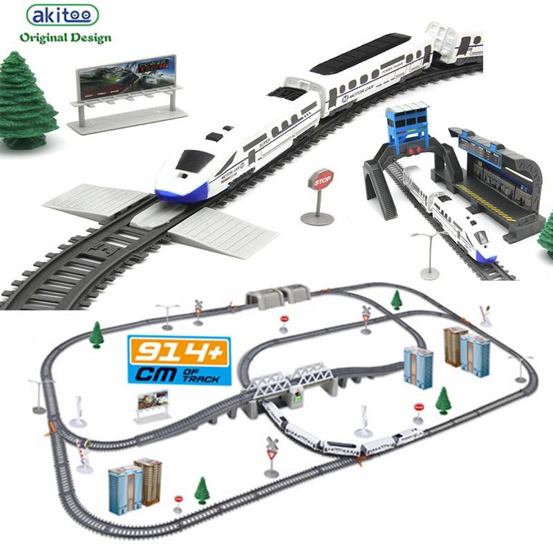 Akitoo 1020 Simulation Of High-speed Rail Motor Vehicle Rail Car Electric  Train Harmony  Bullet Train Children's Toy Mold