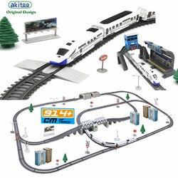 Akitoo 1020 симулятор скоростного рельсового автомобиля, вагончик с электрическим поездом, гармония, пуля, детский игрушечный штамп