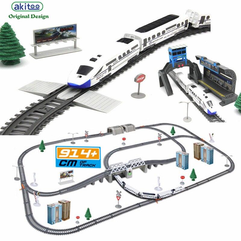 akitoo 1020 Simulation of high speed rail motor vehicle rail car electric train harmony bullet train children's toy mold