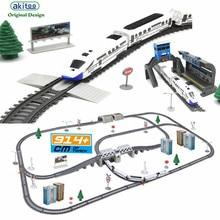 Akitoo 1020 моделирование скоростной железнодорожной автомобильной железнодорожной машины Электрический поезд гармония пуля поезд детская игрушечная форма