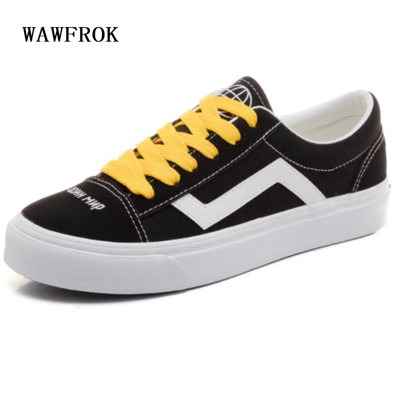 WAWFROK Canvas Women Casual Shoes Summer 2018 Spring Women Flats Shoes Fashion Breathable Lace-Up Women Sneakers