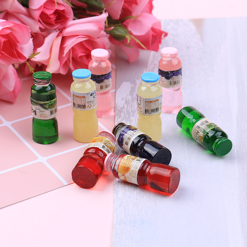2pcs/lot 1:12 Resin Mini Drink Bottle Toys Dollhouse Miniature Toy Doll Drink Kitchen Living Room Decor Accessories 1.1*3cm