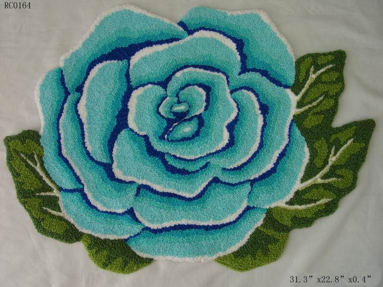 Tapis de chambre à coucher de table basse de salon de roses bleues faites main nationales. Tapis. Ottomans. Paillasson. 80*60