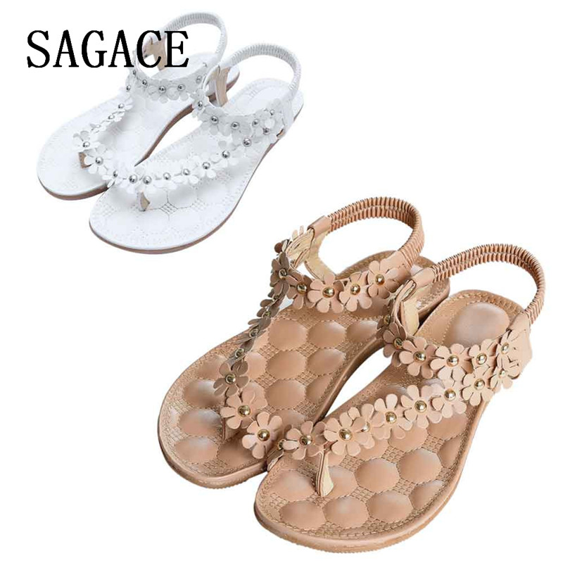 2018 Women Girl Summer Bohemia Sweet travel Beaded Sandals Clip Toe Sandals Beach taking photos Shoes p# dopship muqgew women s summer sandals shoes flower bohemia sweet sandals clip toe sandals beach shoes for women lrew