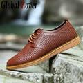 Глобальный Любовник мужчины обувь для ходьбы роскошный кожаный марка мокасины мужские случайные подлинной осень 2016 мужская удобная размер 12