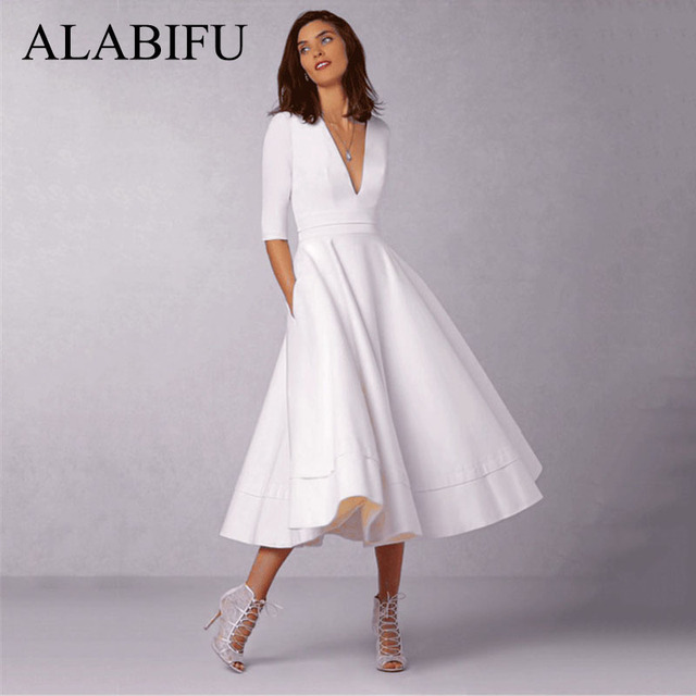 0ce0688b0d2 ALABIFU летнее платье женское 2019 повседневное плюс размер Бальное Платье  женское винтажное сексуальное с v-