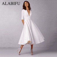 5ffb4fcc4d3 ALABIFU Summer Dress Women 2019 Casual Plus Size Ball Gown Dress Female  Vintage Sexy V Neck