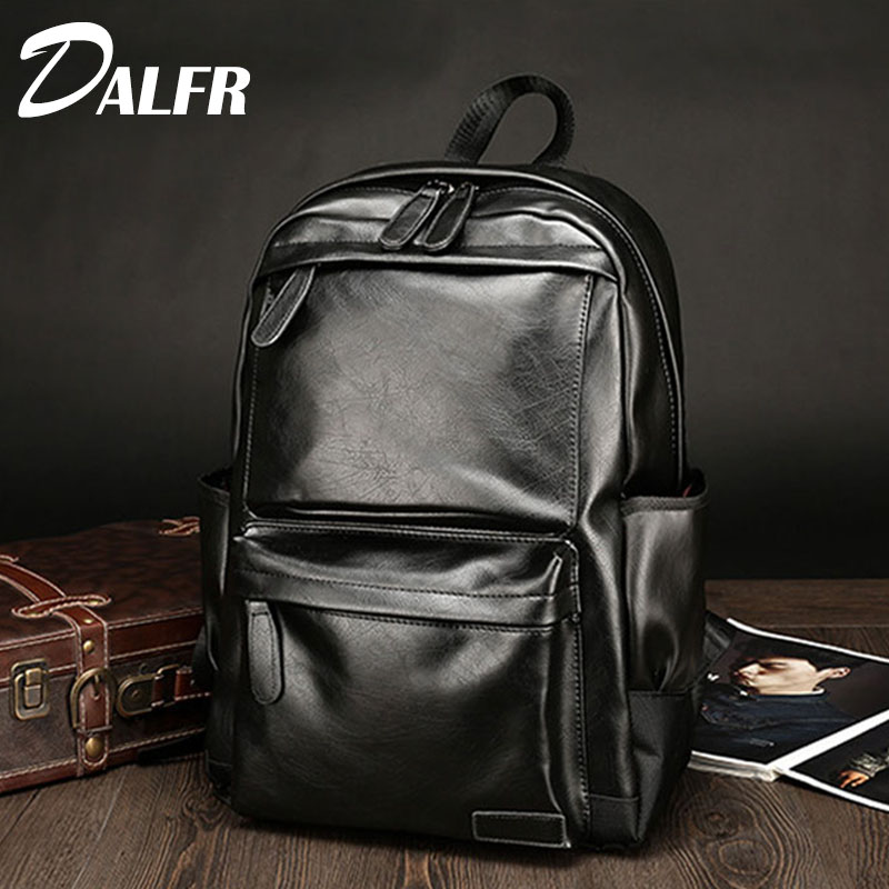 DALFR PU Leather Shoulder Bag Men Fashion Backpack Teen School Bags 20 Inch Casual Leather Luggage Bags Brands 2017 marrant genuine leather backpacks men shoulder bag men bag leather laptop bag 15 inch men s luggage travel bags school backpack
