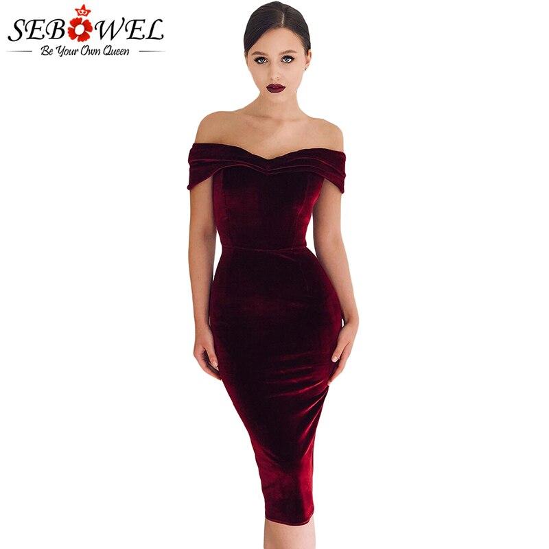 Wine-Red-Off-Shoulder-Ruched-Velvet-Party-Dress-LC610980-3-1